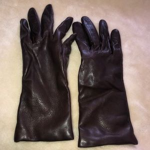 Accessories - Brown Leather Cashmere Lined Gloves size 6 1/2